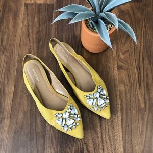 TOPSHOP Ava Gem Slingback Yellow Flats, size 6